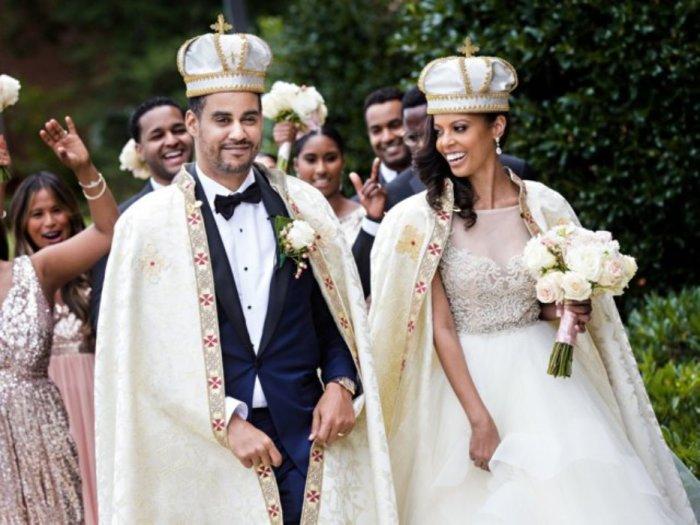 Принц Джоэл Давит Маконнен Хайле Селассие и принцесса Ариана Маконнен из Эфиопии в день своей свадьбы в Вашингтоне, округ Колумбия, в 2017 году.