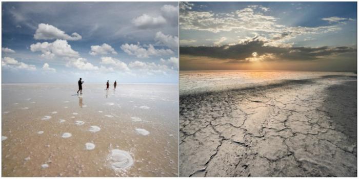 Озеро Эльтон — крупнейшее соленое озеро в России.