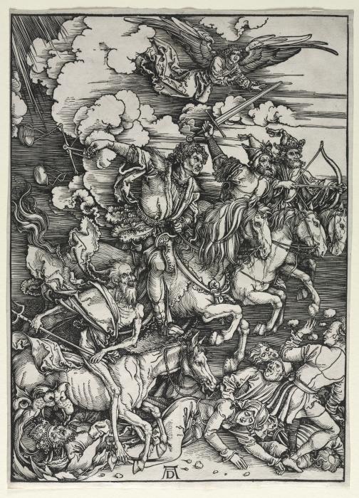 Четыре всадника из Апокалипсиса Альбрехта Дюрера, 1498 год. \ Фото: commons.wikimedia.org.