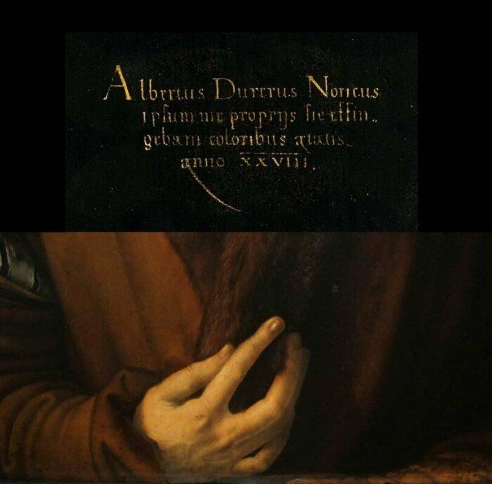 Детали с автопортрета Альбрехта Дюрера, 1500 год. \ Фото: google.com.