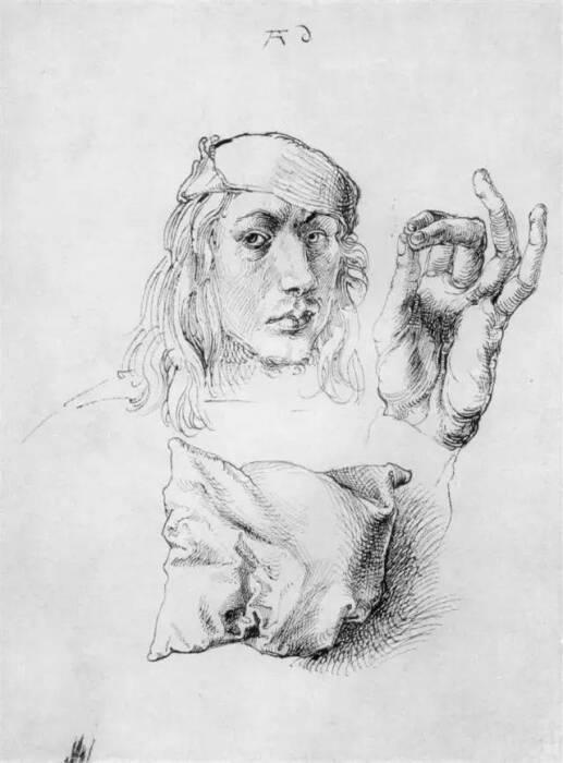 Автопортрет, этюд рука и подушка, Альбрехт Дюрер, 1493 год. \ Фото: twgreatdaily.com.