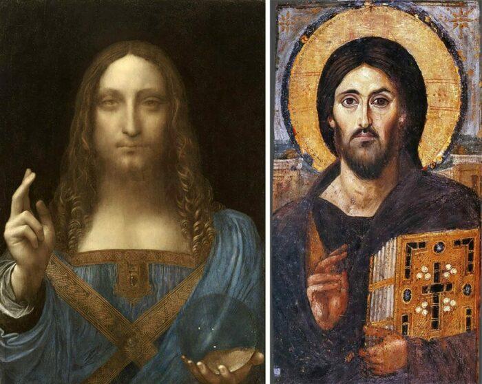 Слева направо: Сальватор Мунди, Леонардо да Винчи, около 1500 года. \ Христос Пантократор из монастыря Святой Екатерины на горе Синай, около середины VI века. \ Фото: pinterest.com.