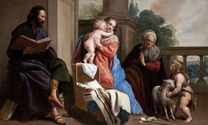 The Holy Family with Saint John and Saint Elizabeth. Автор: Jacob van Oost .
