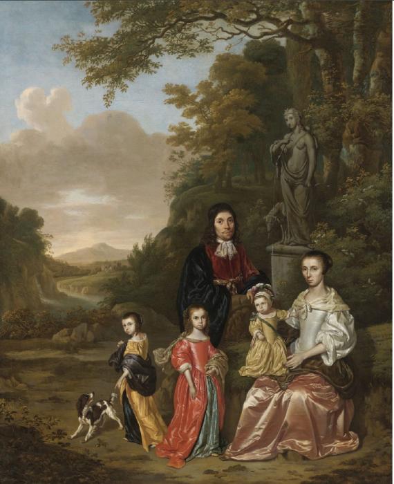 A Group Portrait of the Loth Family in a Landscape. Автор: Jan Le Ducq.