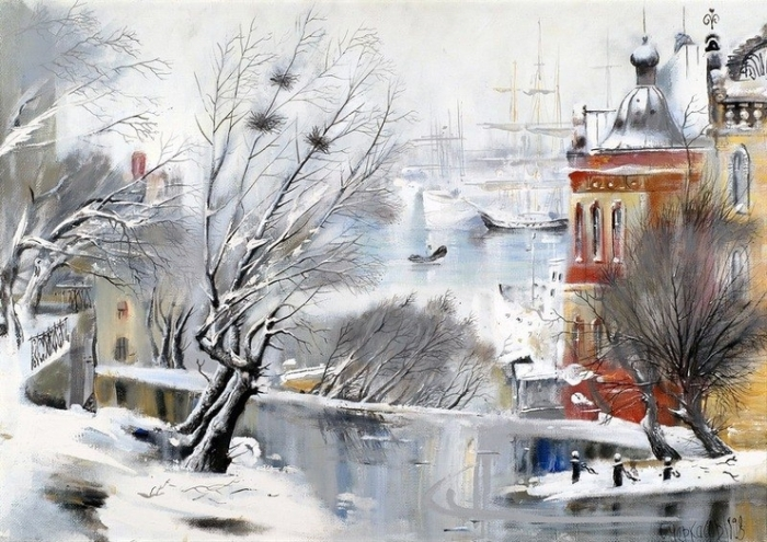 На пристани. Автор: Сергей Черкасов.