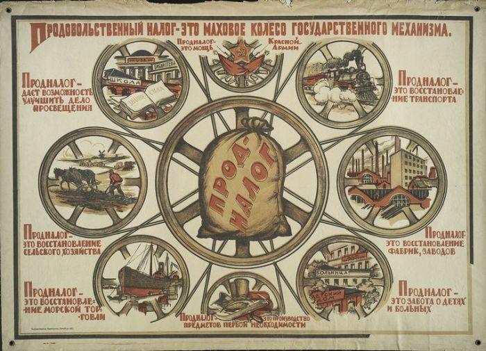 Продовольственный налог - это маховое колесо государственного механизма. Художник С.И. Иванов.