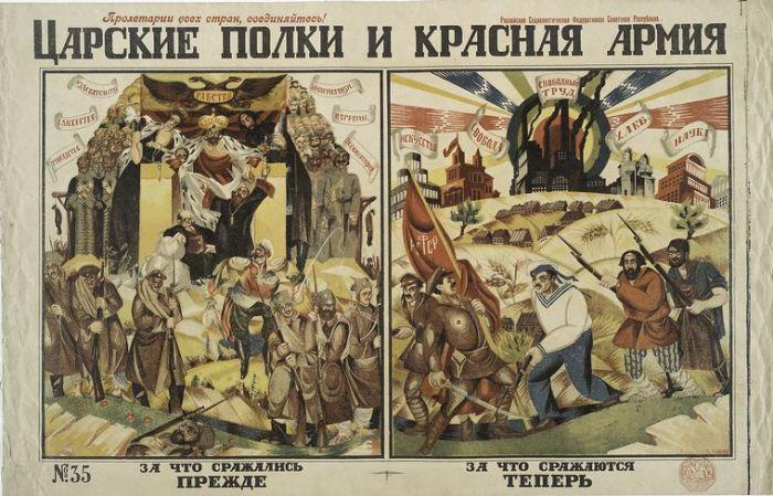 Царские полки и Красная армия. Художник Д. Моор.