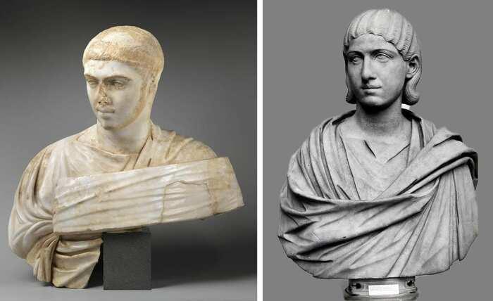 Слева направо: Портретный бюст Александра Севера, 230-235 гг. н. э. \ Фото: metmuseum.org. \ Портрет-бюст Юлии Авиты Маммея, 192-235 гг. н. э. \ Фото: britishmuseum.org.