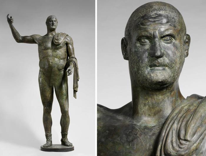 Бронзовая статуя, идентифицированная как император Требониан Галл, 251-3 гг. н. э. \ Фото: metmuseum.org.