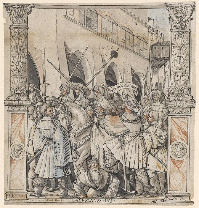 Унижение императора Валериана персидским царём Сапором, Ганс Гольбейн Старший, 1521 год. \ Фото: commons.wikimedia.org.