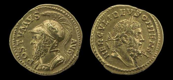 Золотой ауреус Постума с аверсным портретом в шлеме и реверсным изображением Геркулеса Деусонского, 260-269 гг. н. э. \ Фото: britishmuseum.org.