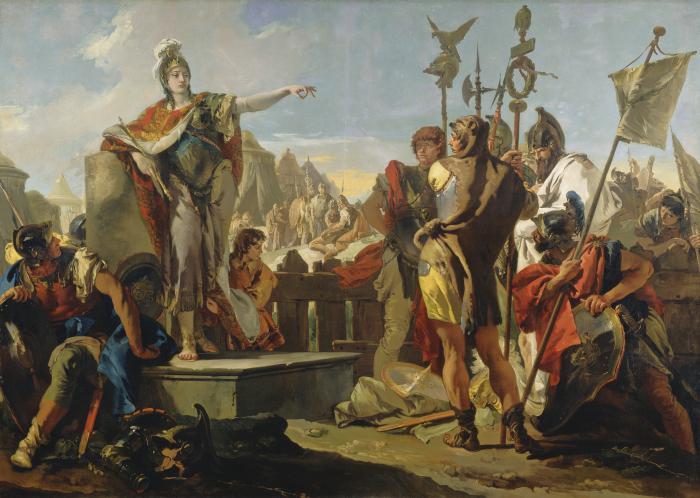 Королева Зенобия Обращается к своим солдатам, Джованни Баттиста Тьеполо, 1725-30 гг. \ Фото: kressfoundation.org.