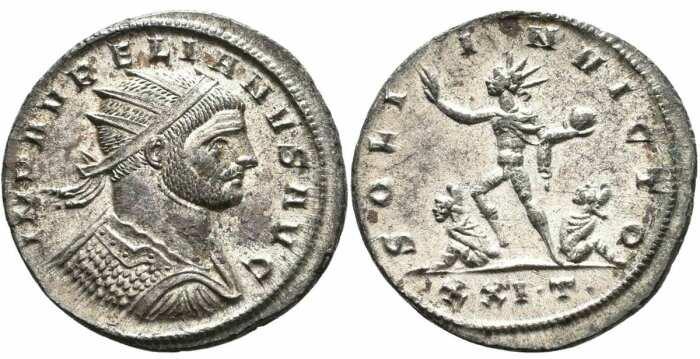 Серебряный антониниан Аврелиана, с обратным изображением бога Солнца Непобедимого и побеждённых врагов, 270-275. \ Фото: numid.ku.de.