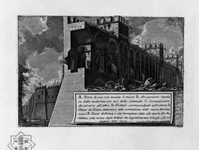 Римские древности, вид на стены Аврелиана, Джованни Баттиста Пиранези, ок. 1750 года. \ Фото: google.com.
