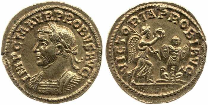Золотой ауреус Проба, с обратным изображением крылатой победы, 276-82 гг. н. э. \ Фото: britishmuseum.org.