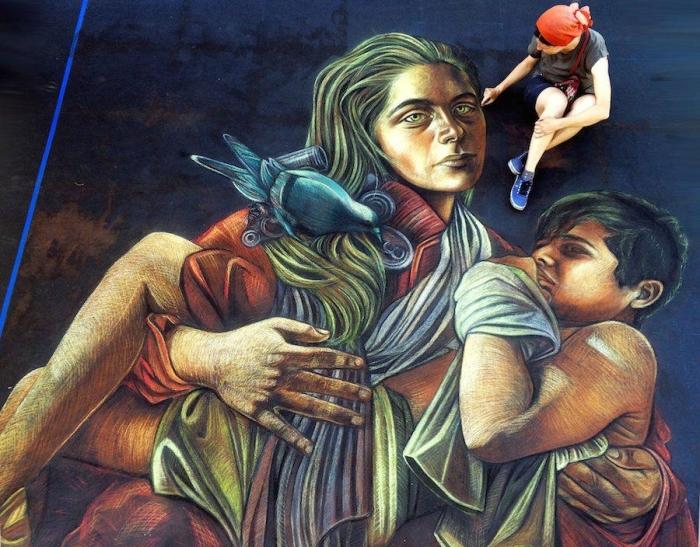 Трёхмерные граффити о современном обществе: Уличные рисунки, мимо которых точно не пройдёшь
