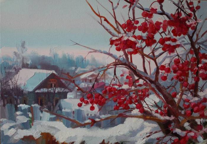 Зимний пейзаж. Калина. Автор: Екатерина Багута.