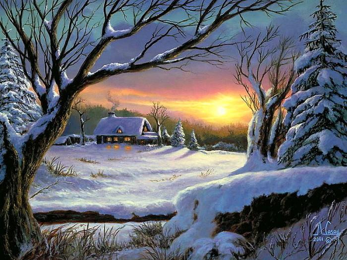 Зимний закат. Автор: A. Casay.