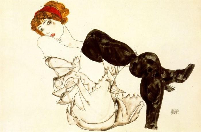 Шиле «Женщина в черных чулках».