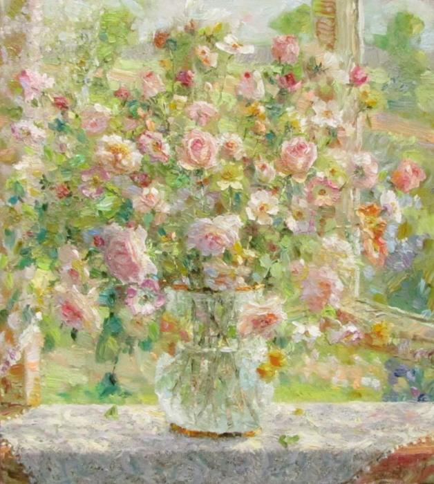Розы у окна. Автор: Зундалев Виктор.