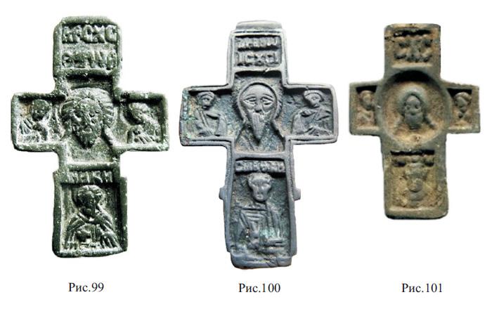 Редкие нательные кресты XVI вв. с изображением Спаса Нерукотворного, Богородицы, Иоанна Богослова и Никиты Готского
