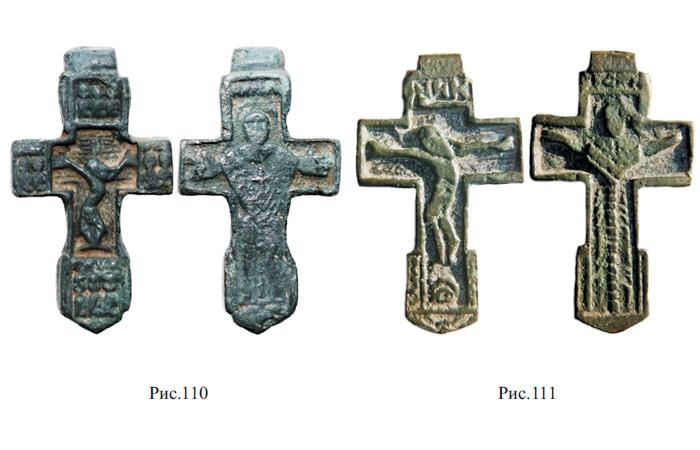 Двусторонние кресты XV - XVI вв. с изображением фигуры распятого Христа и Богородицы Оранты