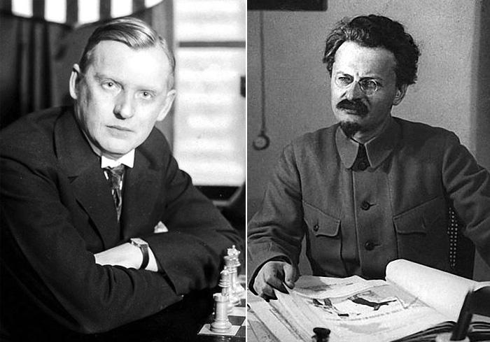 О том, что Троцкий любил шахматы, хорошо известно. Но доводилось ли ему играть с Алехиным - точных сведений нет.
