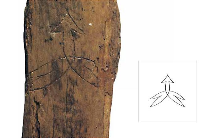 Орнаментированное деревянное изделие из Старой Ладоги и прорись рисунка на изделии. Вторая половина X в. Раскопки А.Н. Кирпичникова