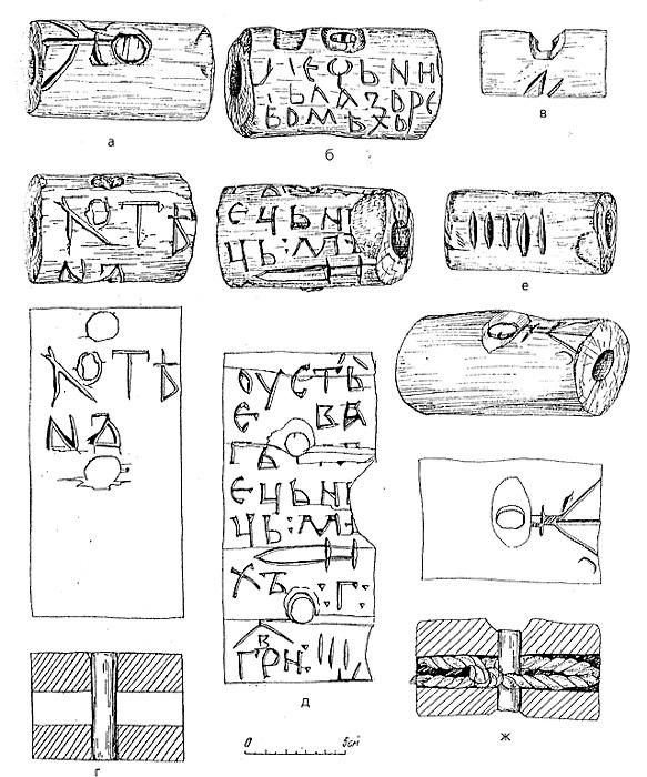 Замки-бирки XI – начала XII в. для запирания мешков с ценностями: а – с изображением княжеского знака; б – с надписью: «Мечника Лазаря мешок» и изображением меча; в – с буквой Н; г – с именем «Хотен» (общий вид, развертка поверхности, разрез); д – с надписью «Устье Ваги, мешок мечника, 3 гривны», изображением меча и тремя зарубками; е – с пятью зарубками; ж – с изображением княжеского знака (общий вид, прорись, разрез)