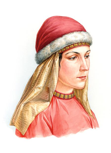 Реконструкция костюма и украшений молодой женщины из Дмитрова, конец XII века - начало XIII века.