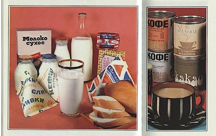 Красочные иллюстрации с изображением продуктов из прейскуранта магазина «Березка»