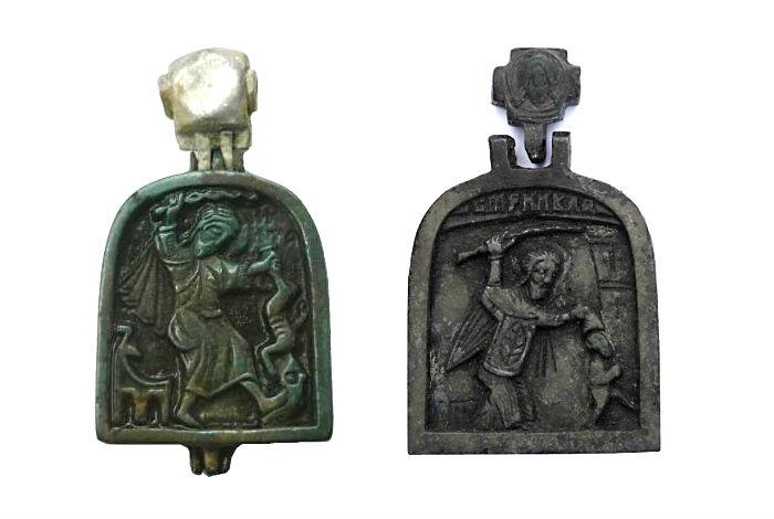 Двухсторонние иконки-энколпии с изображением Никиты бесогона, XV-XVI вв.