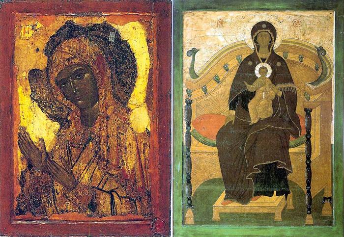 (Рис.5.) Иконография Богоматери. 6 – Богоматерь Агиосоритисса, икона XIV в.; 7 – Богоматерь на Престоле, икона XVI в.;