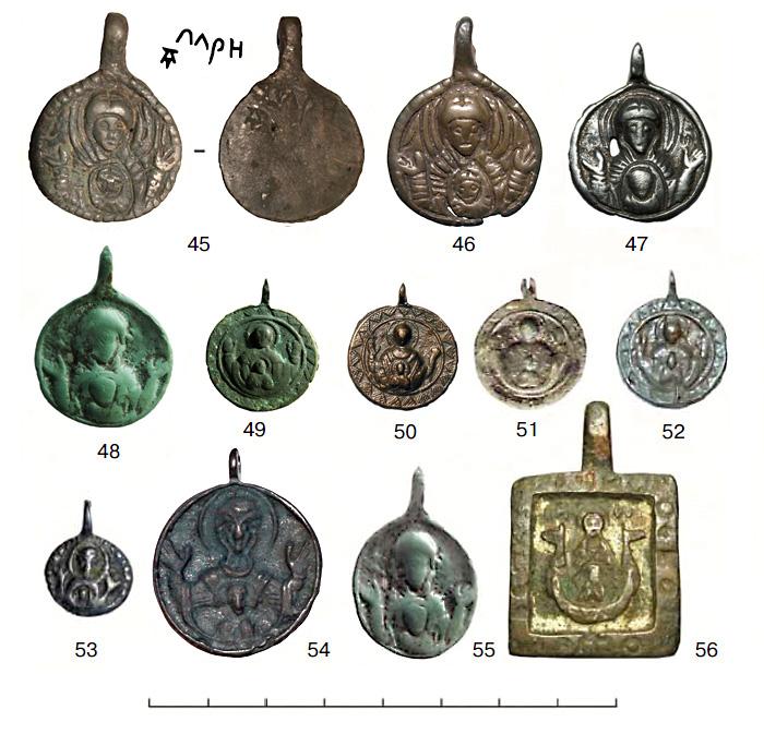 (табл. IV) Иконки от XII–XIII вв. до первой половины XV в. с  изображением Богоматери Знамение