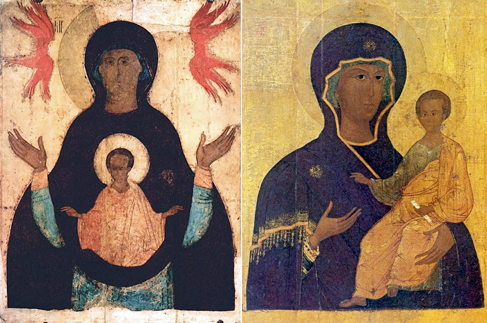 (Рис.5.) Иконография Богоматери. 3 – Богоматерь Знамение, икона XV в.; 4 – Богоматерь Одигитрия Смоленская, икона XVI в.;