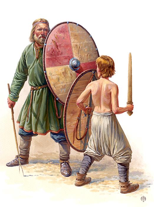 Обучение мальчика обращению с мечом и щитом, X век. По материалам древнерусских и скандинавских погребений