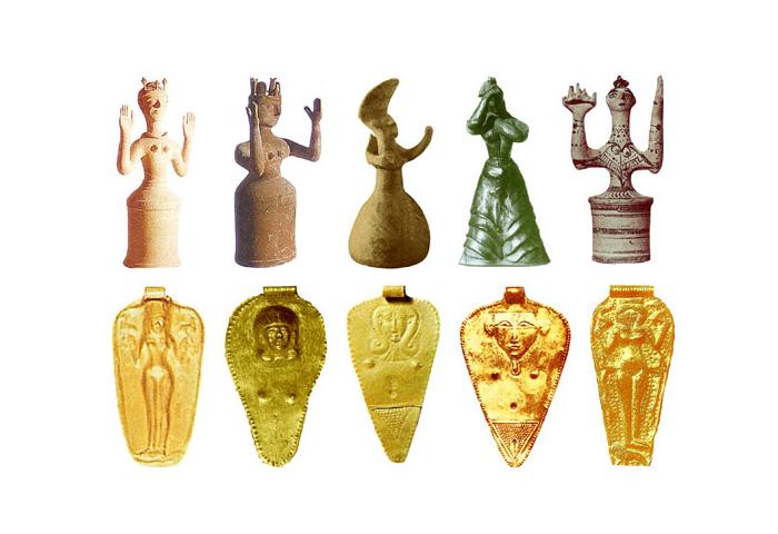 Скульптуры Богинь позднего бронзового века