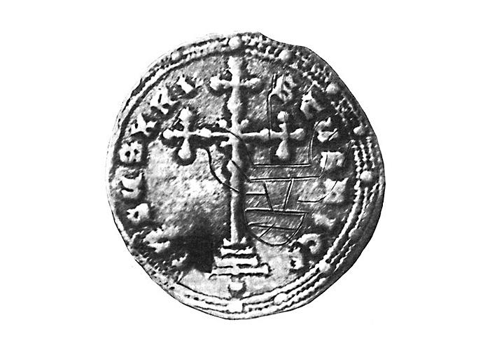 Изображение меча – граффити на византийской монете, найденной в составе клада в Островском районе Псковской области в 1930 г.