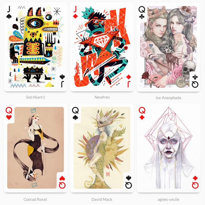 колода карт, которую проиллюстрировали 54 дизайнера со всего мира
