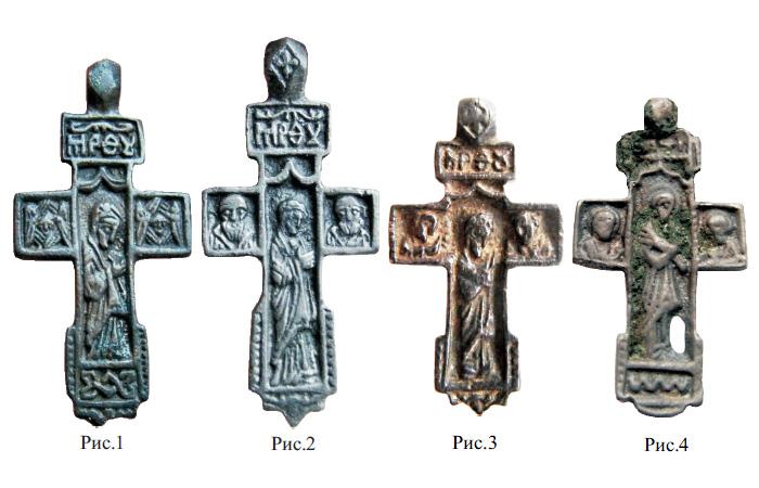 Нательные килевидные кресты XV - XVI веков с образом Богородицы