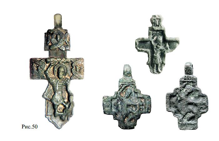 Средневековые килевидные кресты со святым  Никитой, побивающим  Беса