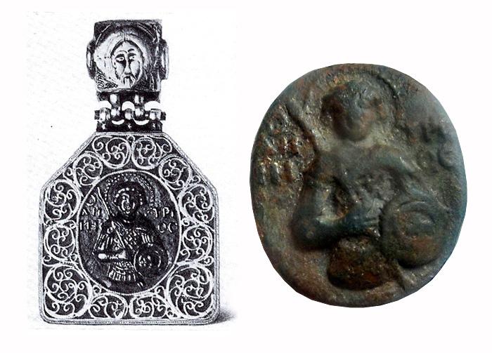 Стеклянная иконка-литик с изображением Святого Дмитрия 13 в., в серебрянной оправе со сканью 15-16 вв. / Медно-бронзовый переливок со стеклянной иконки-литика, найденный в Украине.