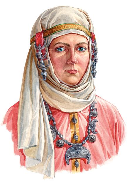 Женщина в уборе  с гроздевидными наушницами, конца X - начала XI вв.  По материалам кладов из Гнёздово под Смоленском.