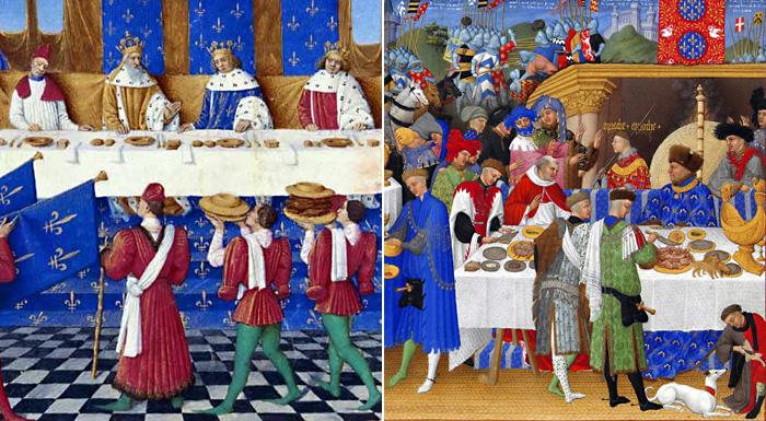 Жан, герцог Берри наслаждается пиршеством. 1410 г. / Банкет данный в Париже в 1378 году Карлом V. 1455 -1450 гг.