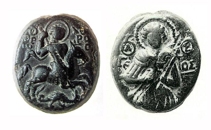 Стеклянные иконки-литики: Святой Федор (Государственный Русский музей), Святой Георгий.