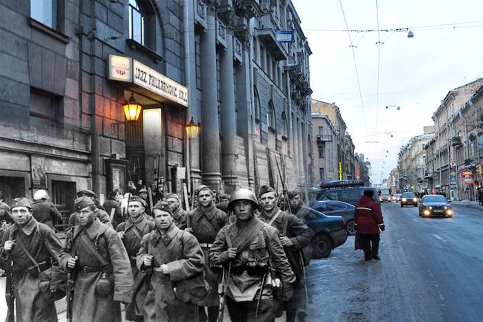 Коллажи из современных фотографий и фотографий времен Великой Отечественной войны