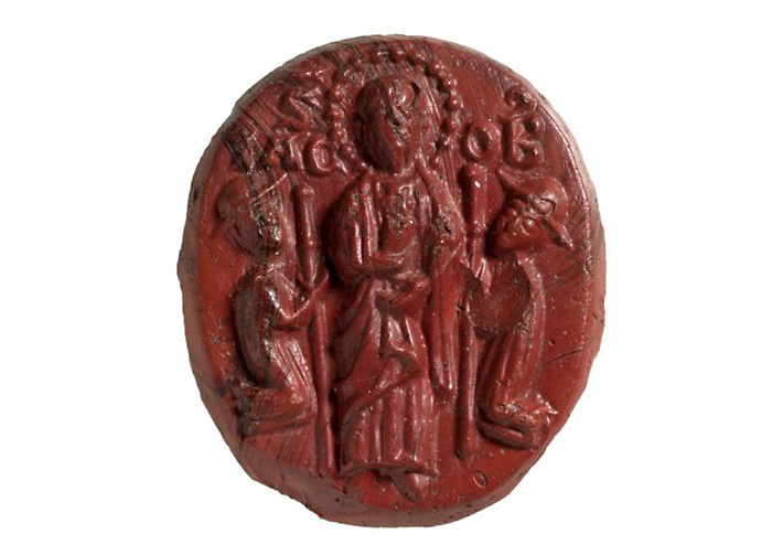 Стеклянная иконка-литик с изображением Святого Иакова. 12-13 вв. Находится в Британском музее.