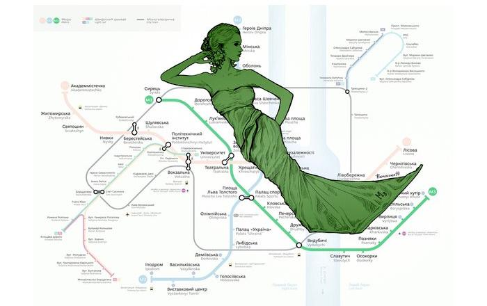 Художница из Украины «хуманизировала» схему киевского метро.