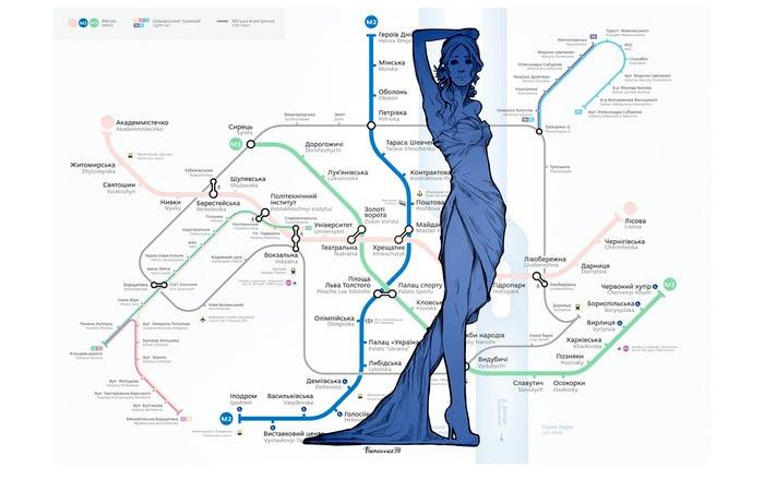 Украинская художница «оживила» схему киевского метро