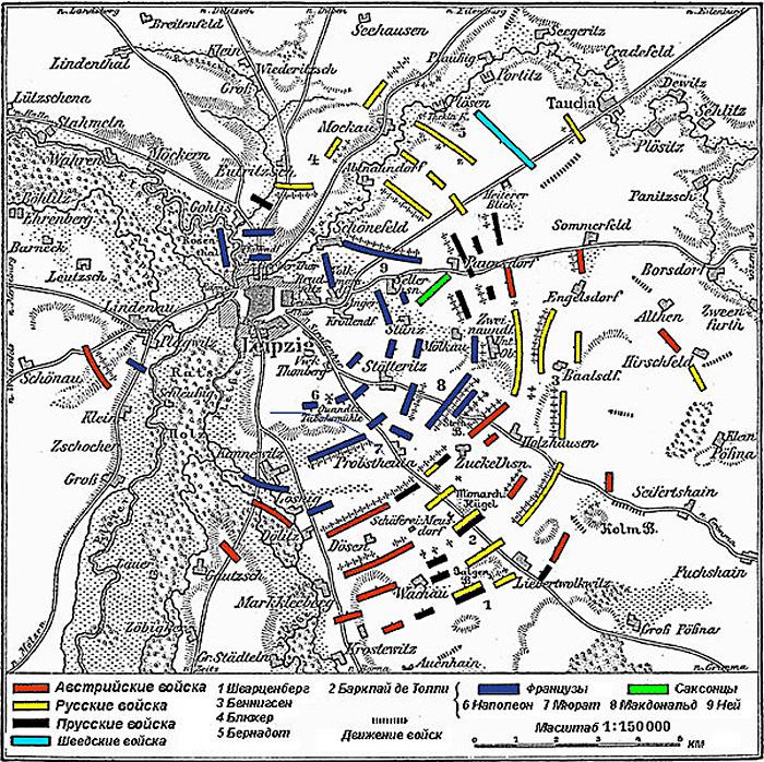 План-схема битвы под Лейпцигом, 1813 г.